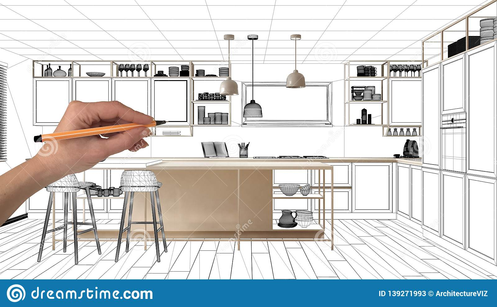 Unfinished Project Under Construction Draft Concept Interior Design Sketch Hand Drawing Real Kitchen Sketch With Blueprint Stock Image Image Of Kitchen Drawing 139271993