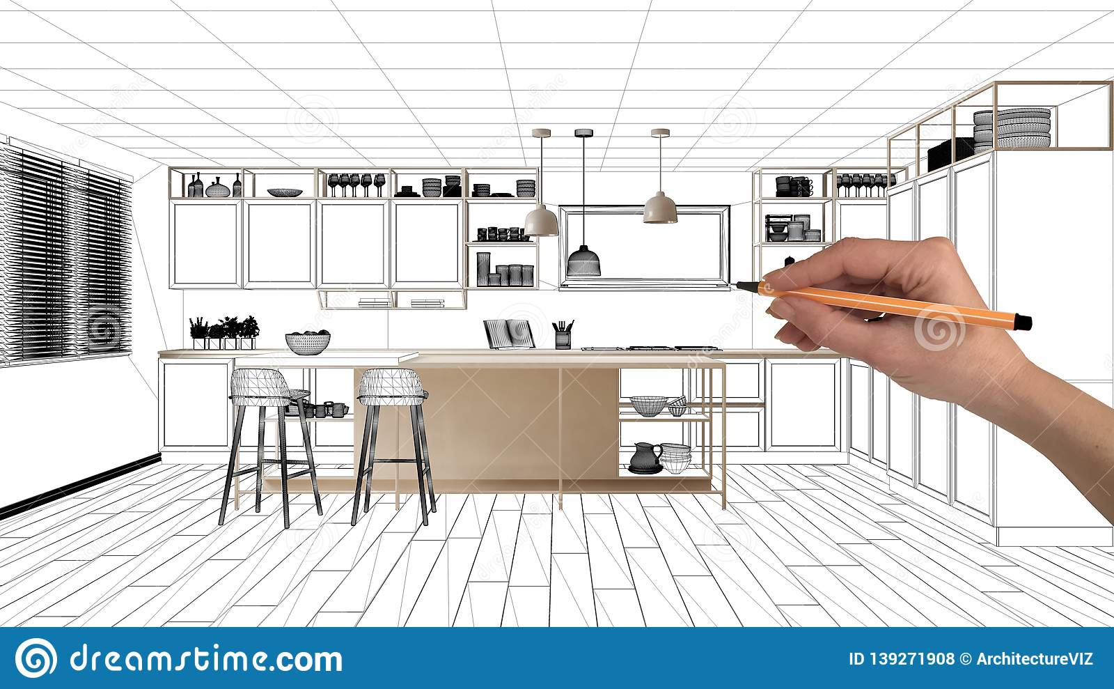 Unfinished Project Under Construction Draft Concept Interior Design Sketch Hand Drawing Real Kitchen Sketch With Blueprint Stock Photo Image Of Abstract Background 139271908