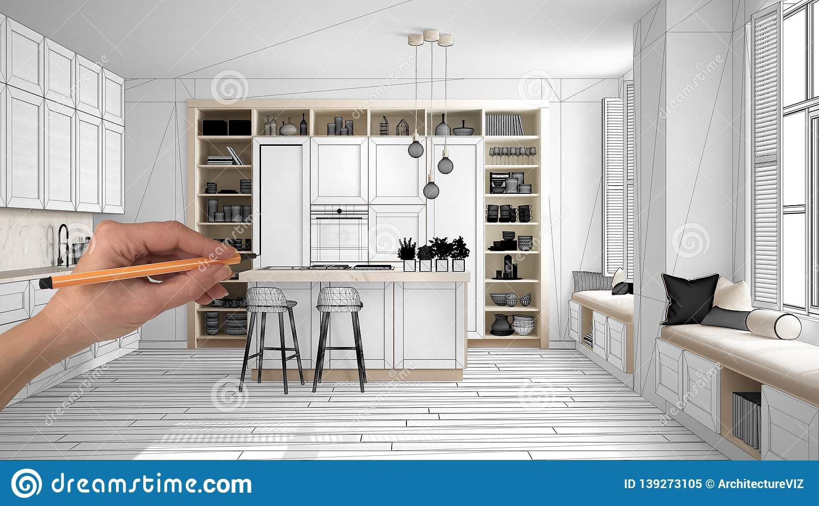 Unfinished Project Under Construction Draft Concept Interior Design Sketch Hand Drawing Real Kitchen Sketch With Blueprint Stock Illustration Illustration Of Materials Empty 139273105