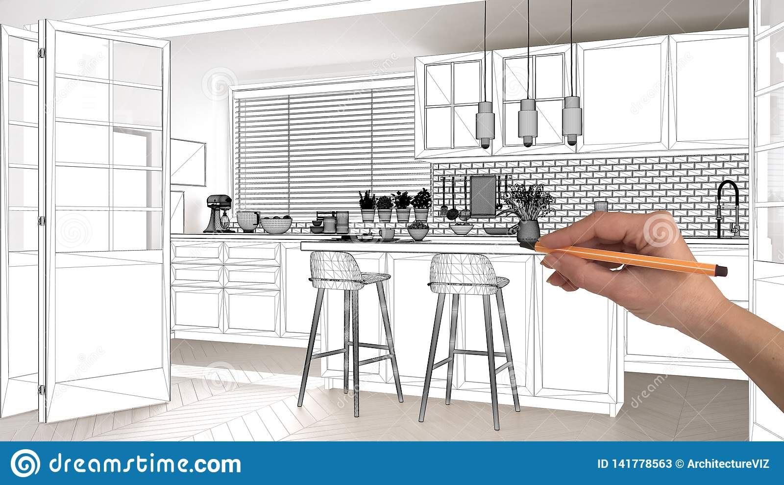Unfinished Project Under Construction Draft Concept Interior Design Sketch Hand Drawing Scandinavian Kitchen Blueprint Sketch Stock Image Image Of Development Idea 141778563