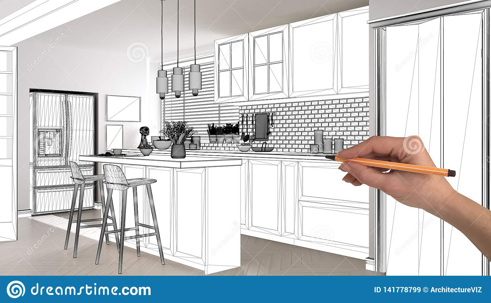 Unfinished Project Under Construction Draft Concept Interior Design Sketch Hand Drawing Scandinavian Kitchen Blueprint Sketch Stock Image Image Of Draw Draft 141778799