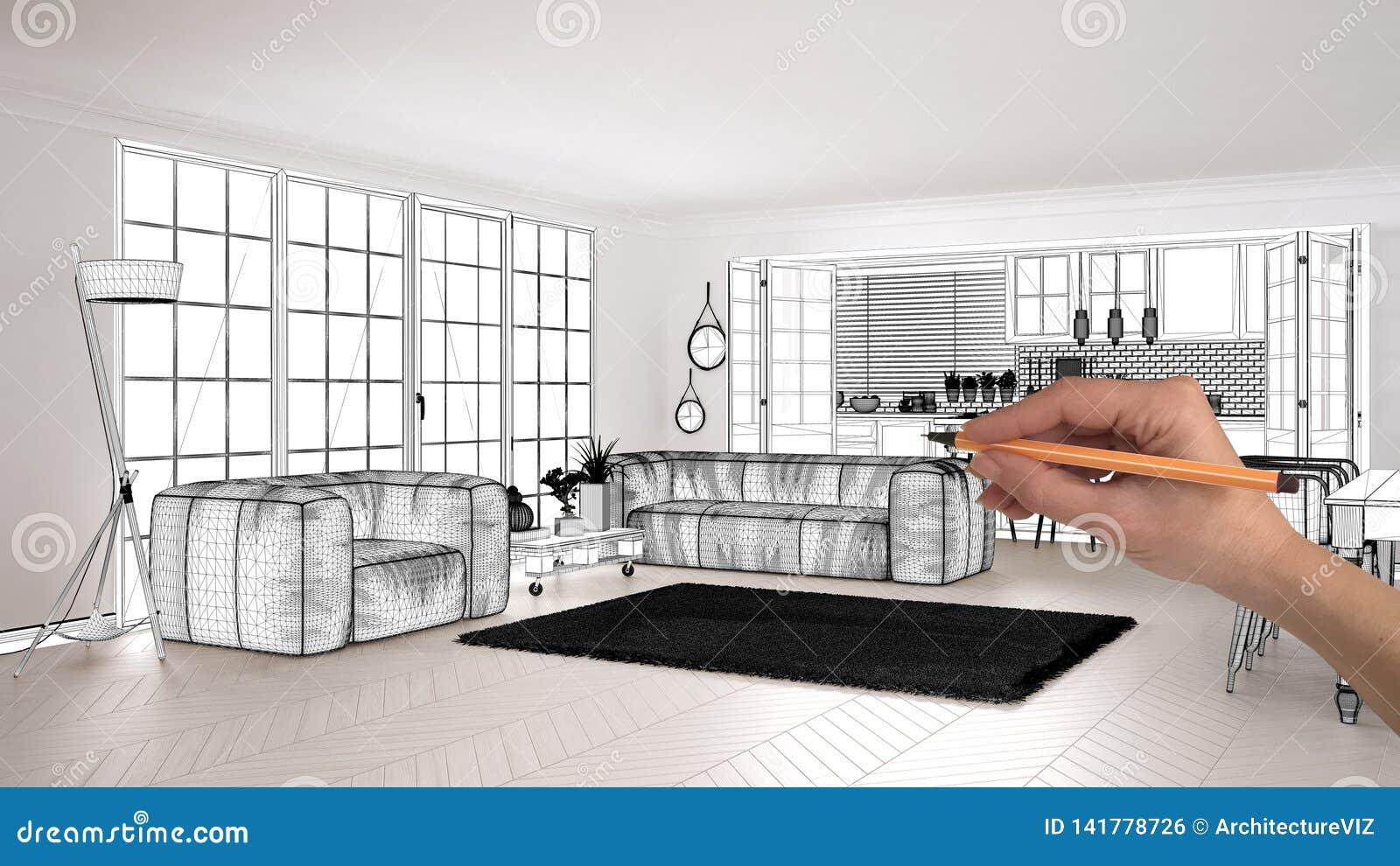 Unfinished Project Under Construction Draft Concept Interior Design Sketch Hand Drawing Scandinavian Living Room Blueprint Stock Photo Image Of Illustration Idea 141778726