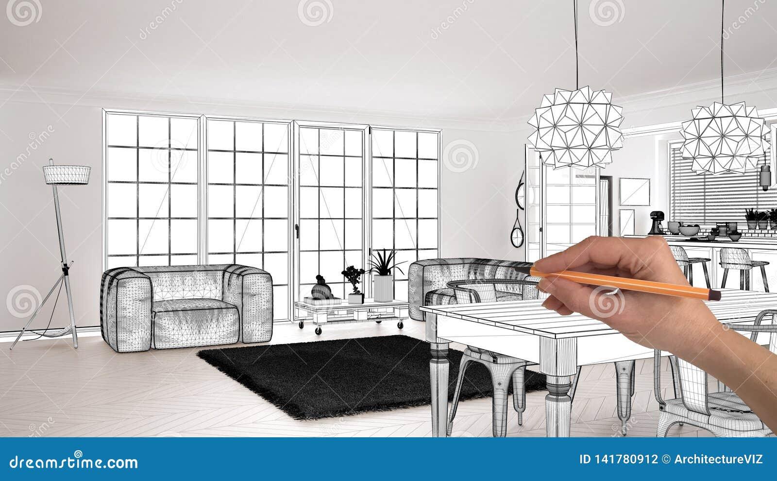 Unfinished Project Under Construction Draft Concept Interior Design Sketch Hand Drawing Scandinavian Living Room Blueprint Stock Photo Image Of Home Designer 141780912