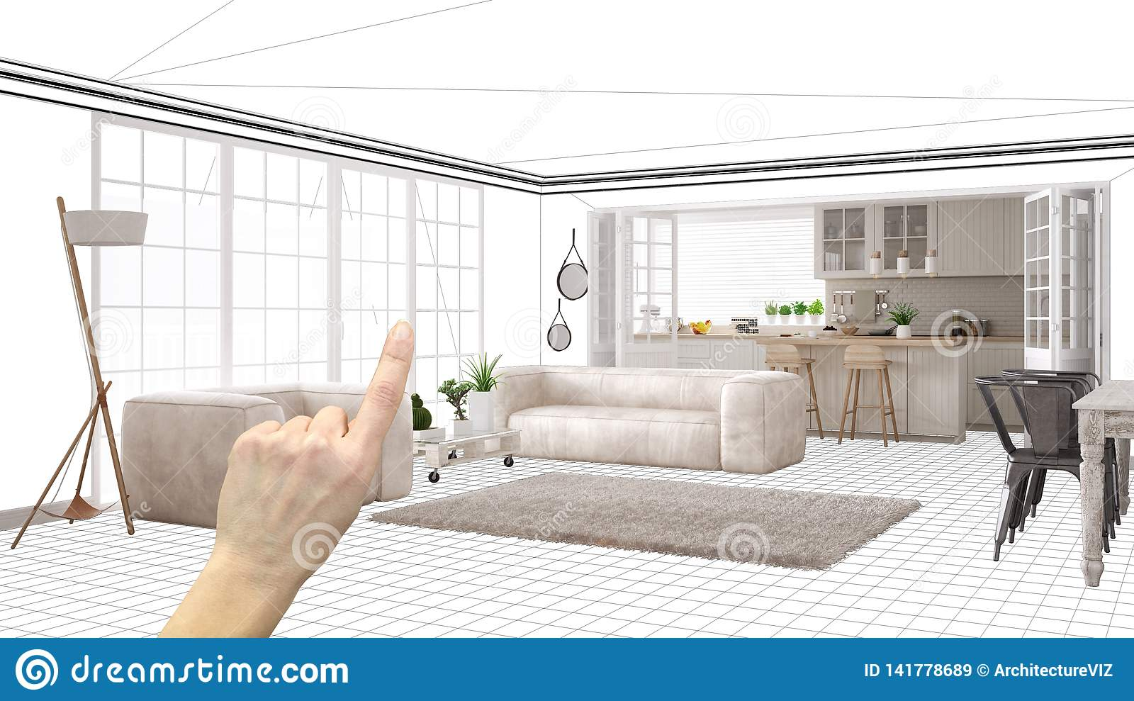 Unfinished Project Under Construction Draft Concept Interior Design Sketch Hand Pointing Real Scandinavian Living Room With Stock Image Image Of Pointing Concept 141778689