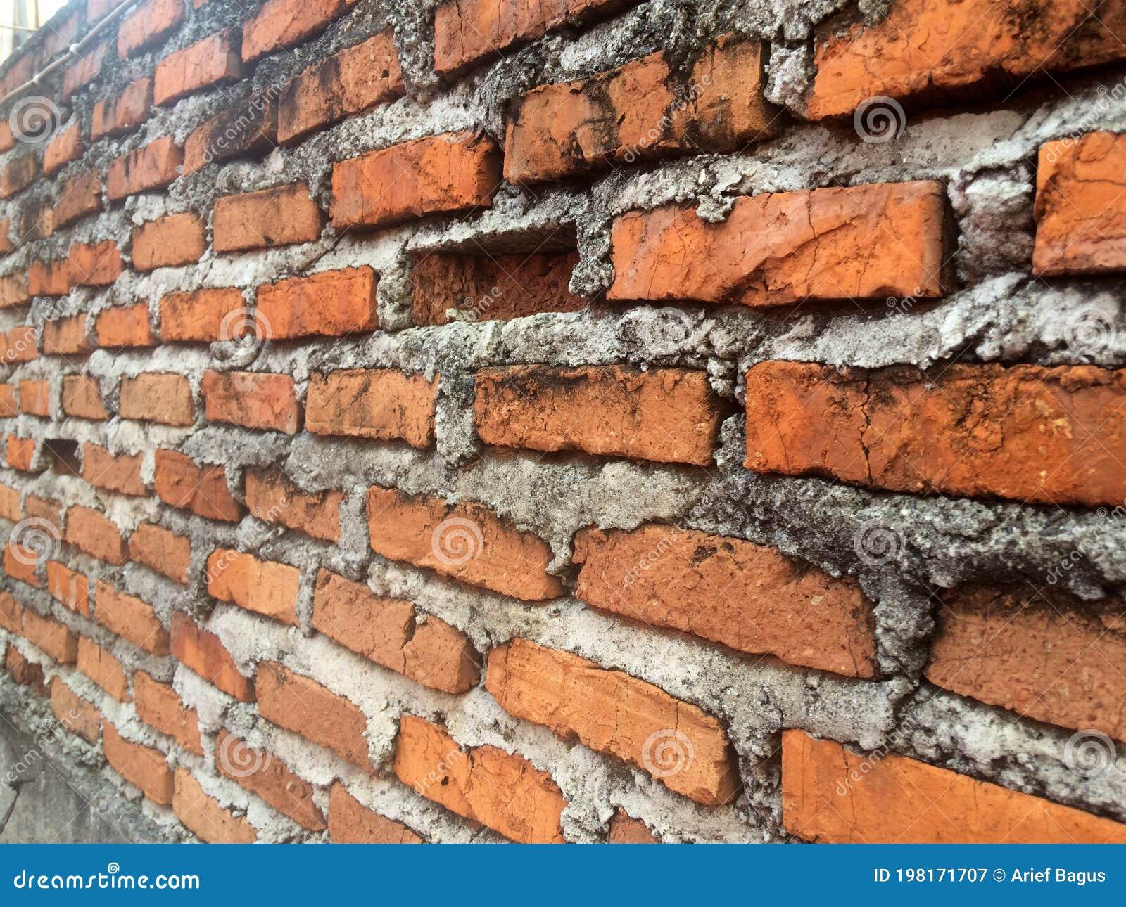 Unfinished Red Brick Wall Or Tembok Bata Merah Batu Bata Wall Stock Image Image Of Brown Material 198171707 Dinding batu bata merah