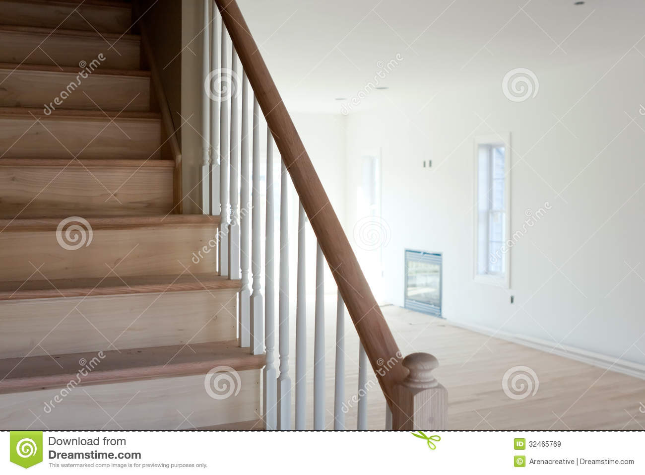 Unfinished stairs home interior royalty free stock images - Interior stair railing contractors ...