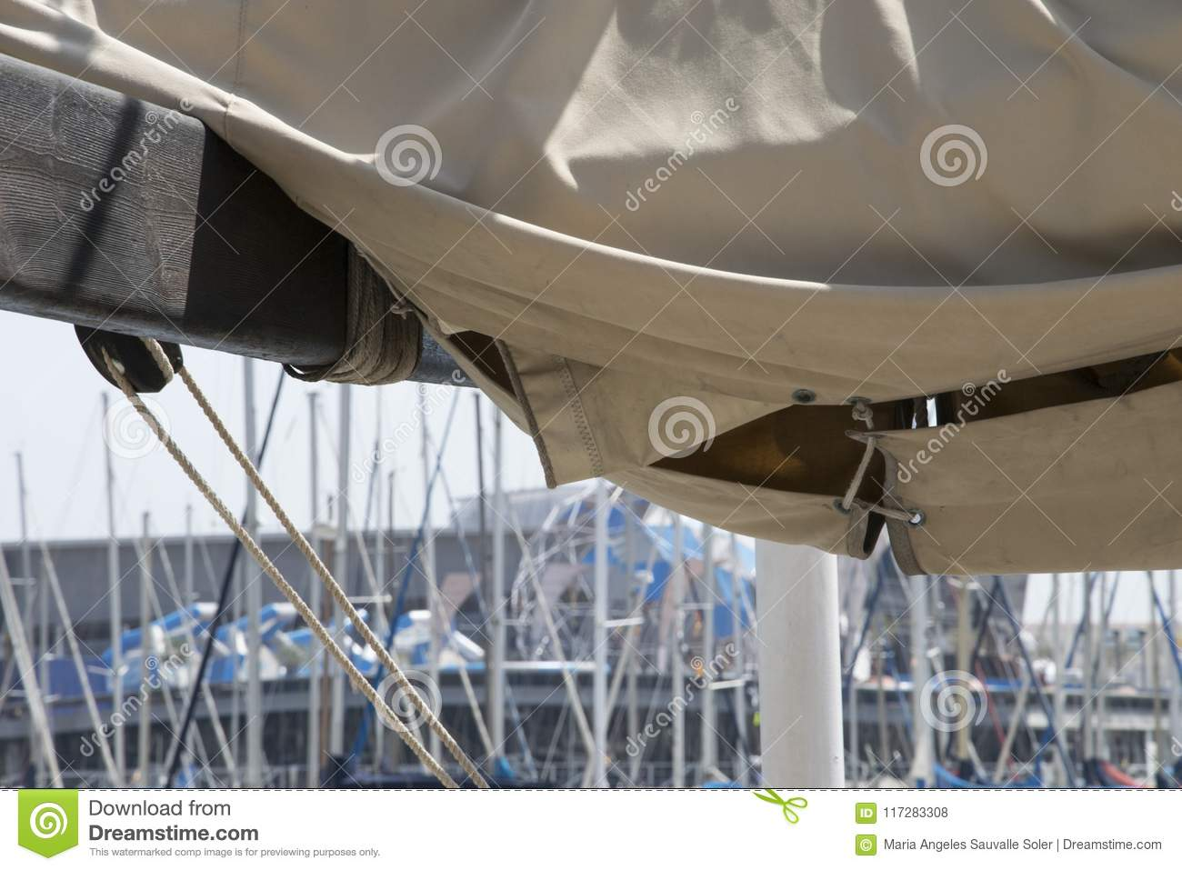 Unfolding the sail stock photo  Image of depart, dock