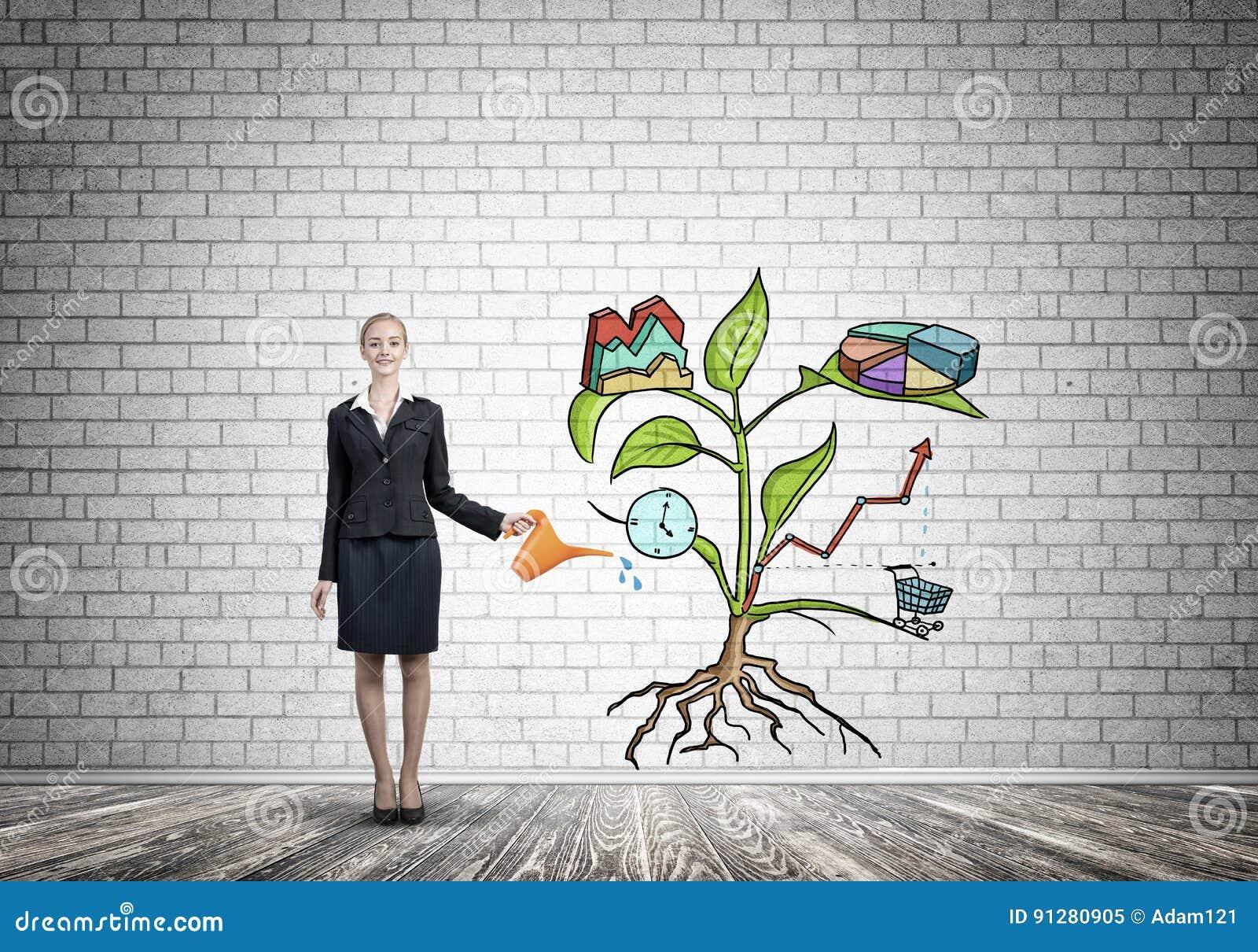 Ung affärskvinna i tomt rum som bevattnar dragit tillväxtbegrepp med canen