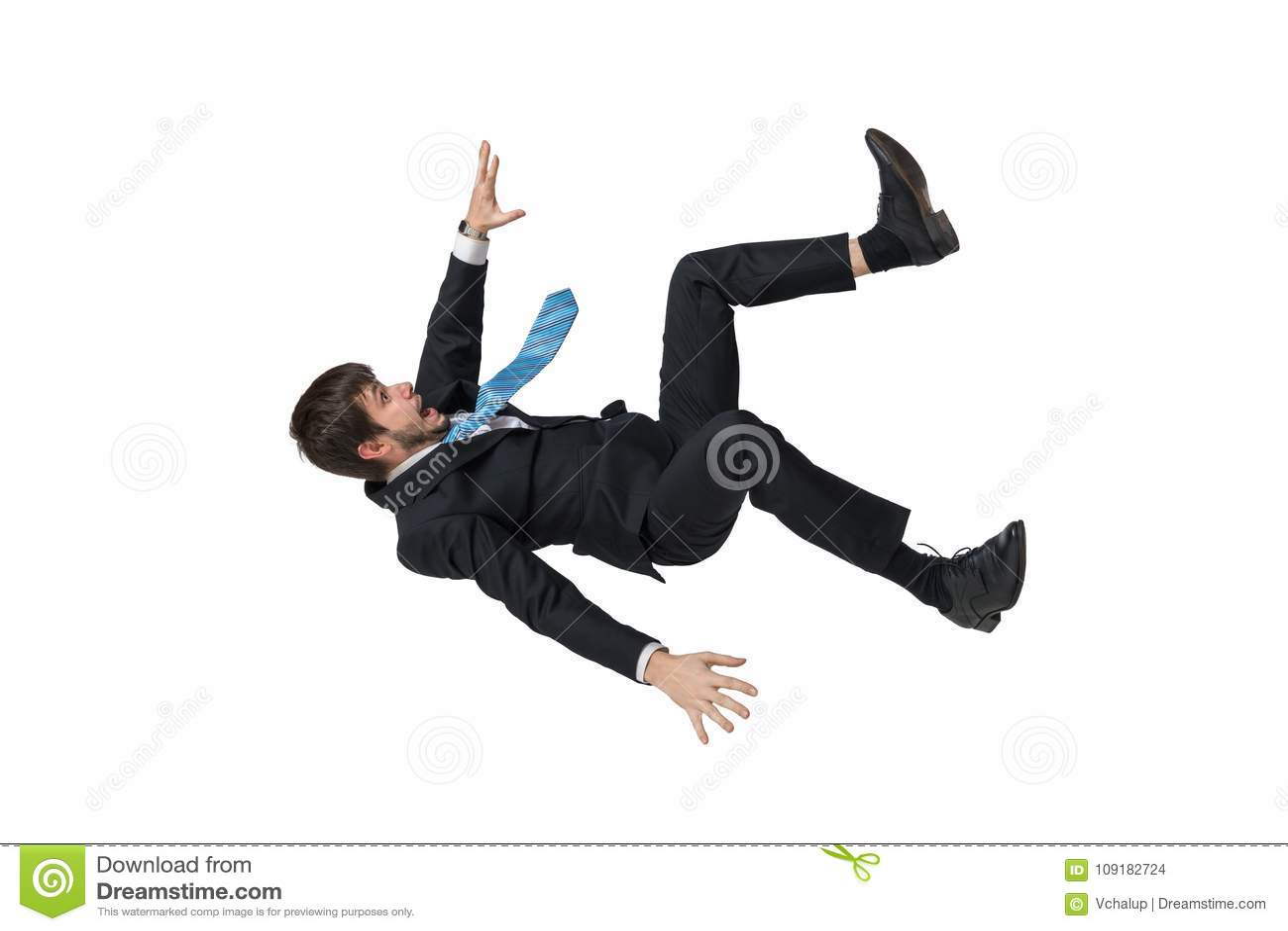 Ung affärsman som ner faller i fritt fall bakgrund isolerad white