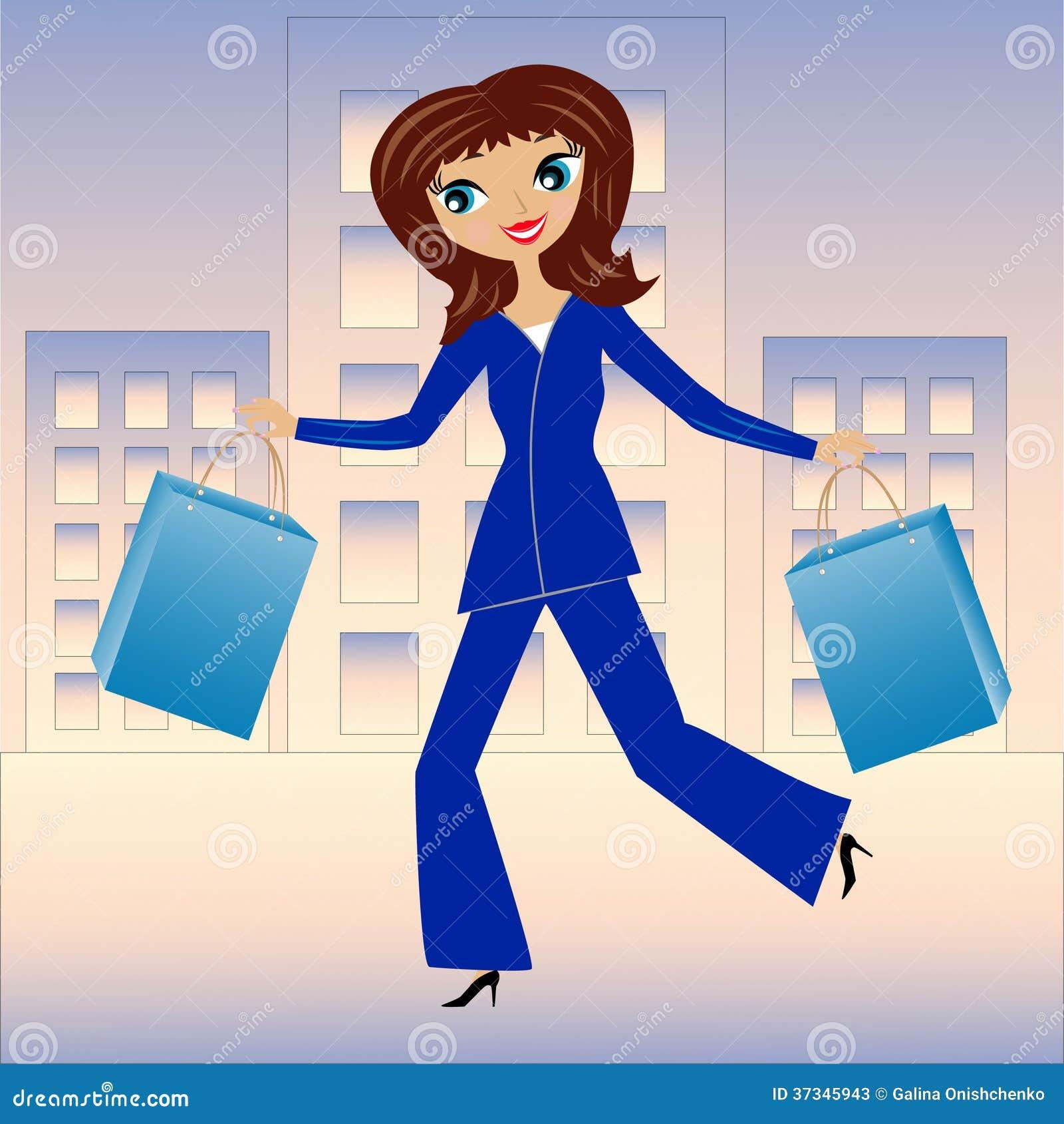 Ung brådska för affärskvinna med köphemmet