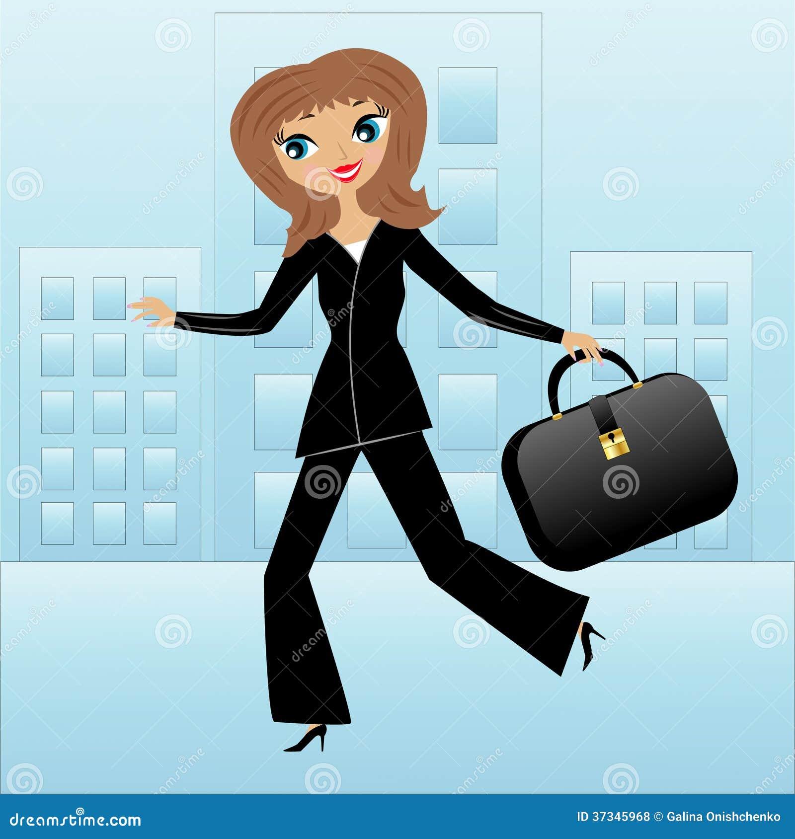 Ung brådska för affärskvinna på arbete