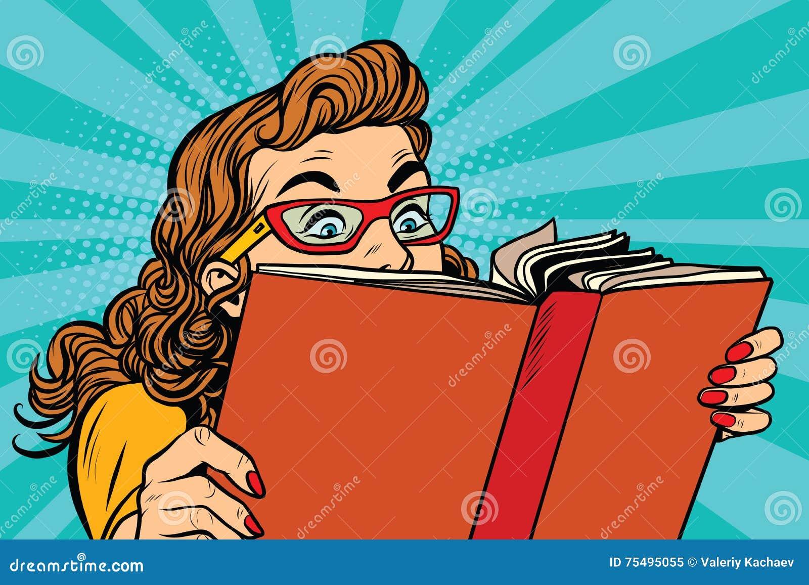 Ung dam som läser en bok