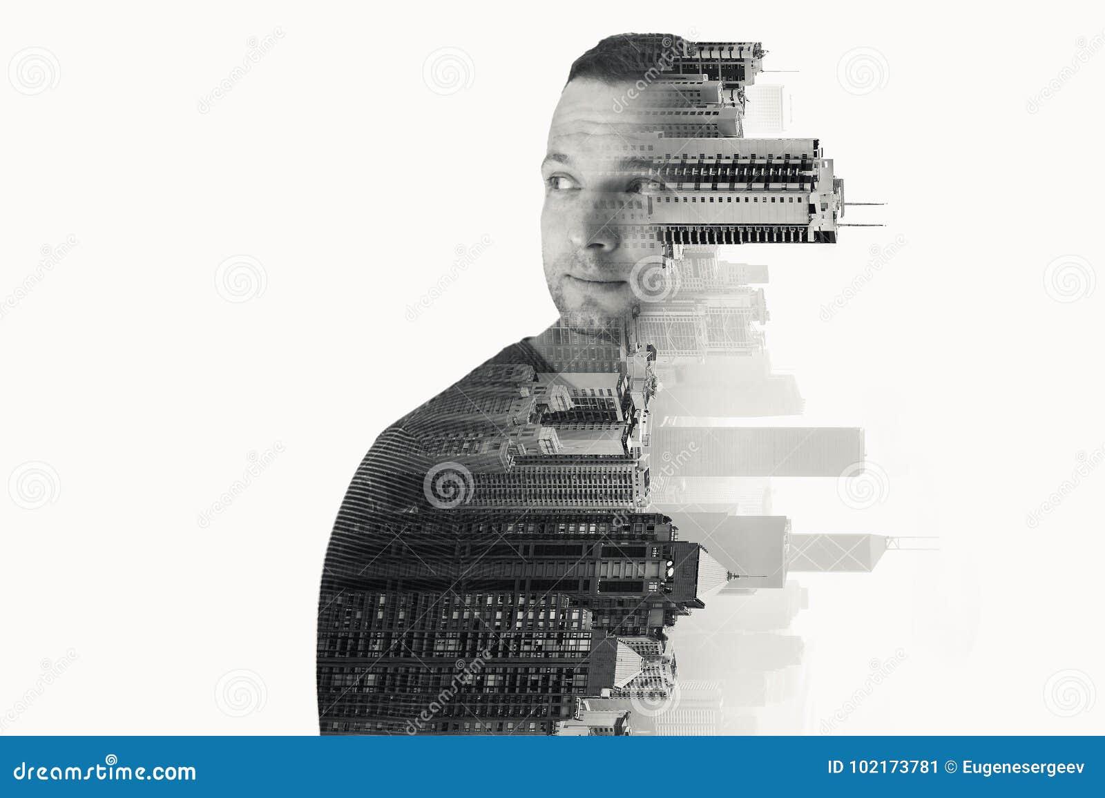 Ung europeisk man och modern cityscape