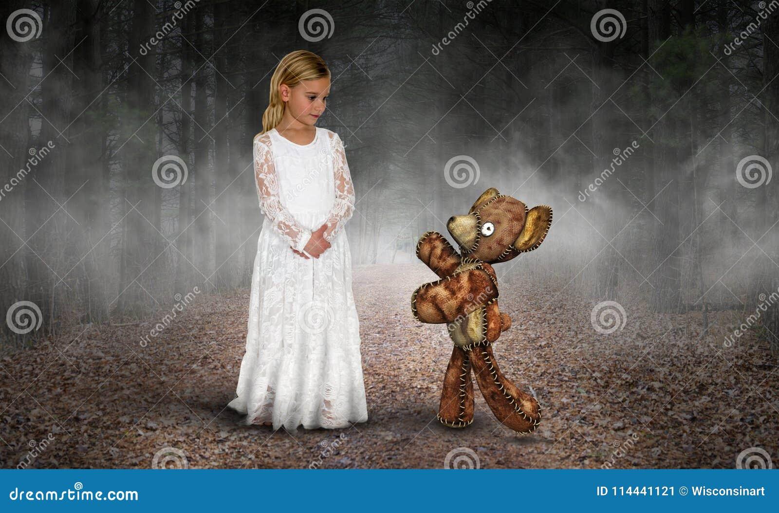 Ung flicka förälskelse, fred, fantasi, Teddy Bear