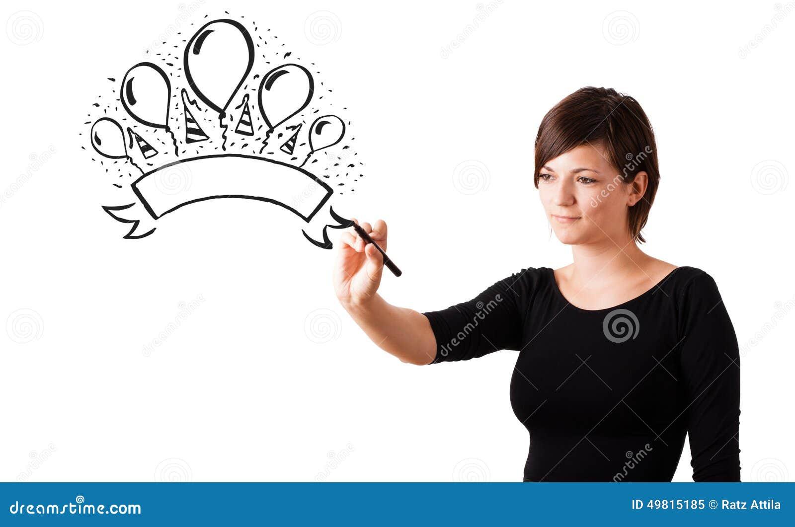 Ung flicka som tecknar en deltagareetikett på whiteboard