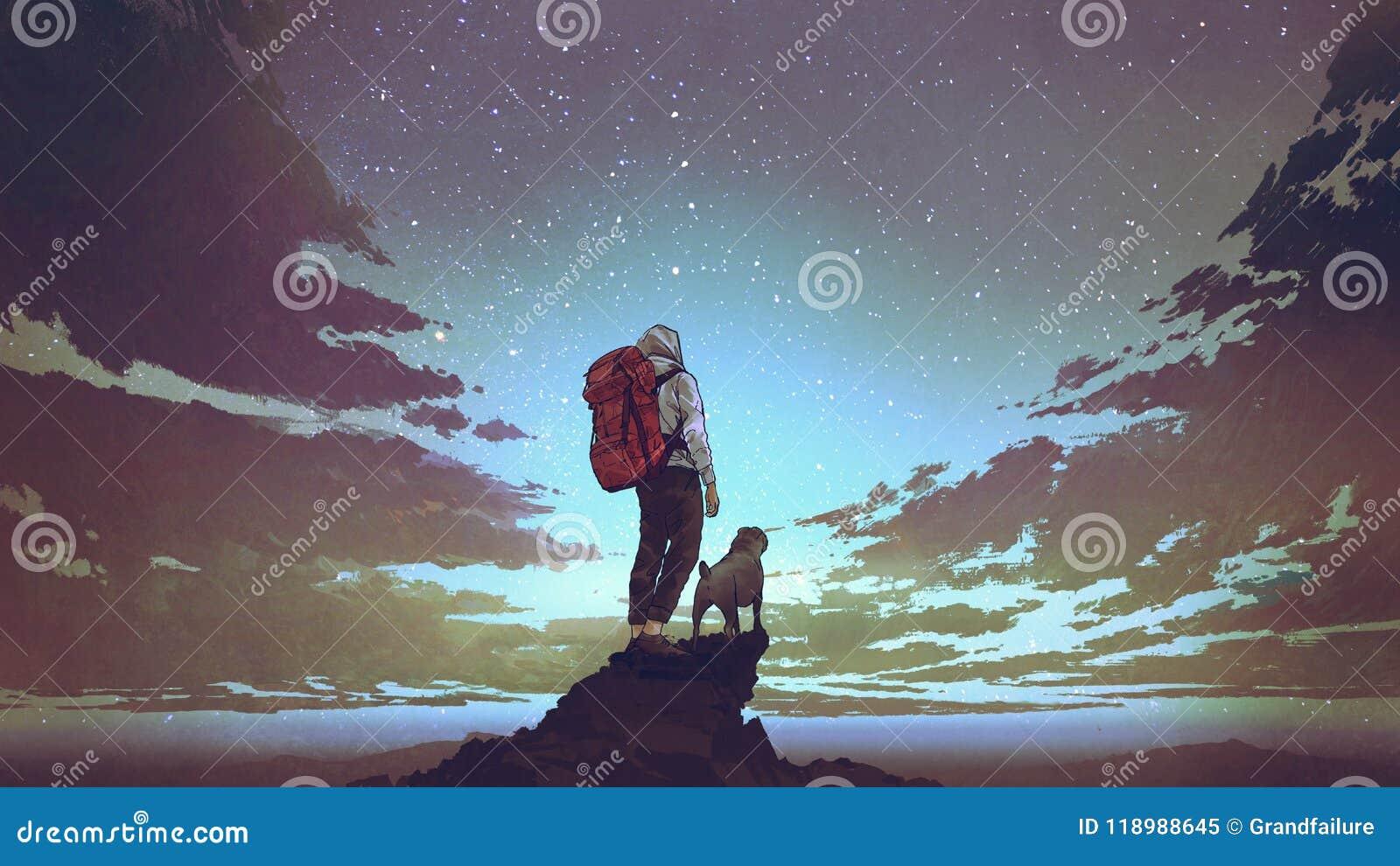 Ung fotvandrare och hund som ser himlen