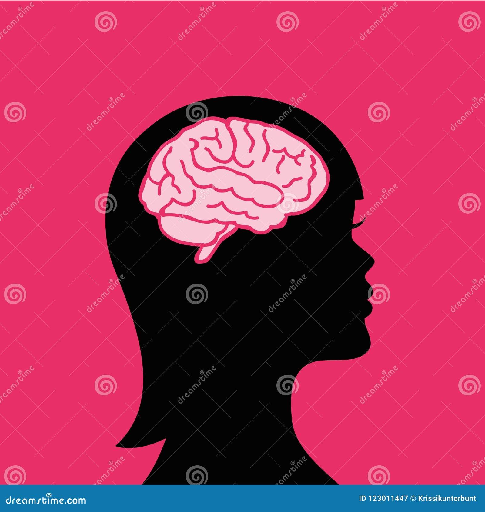 Ung kvinna med en stor hjärna