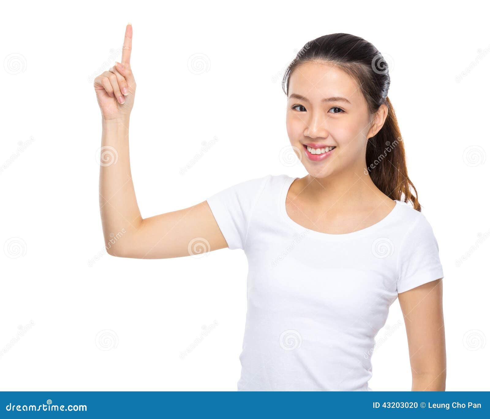 Download Ung Kvinna Med Fingerpunkt Upp Arkivfoto - Bild av person, teen: 43203020