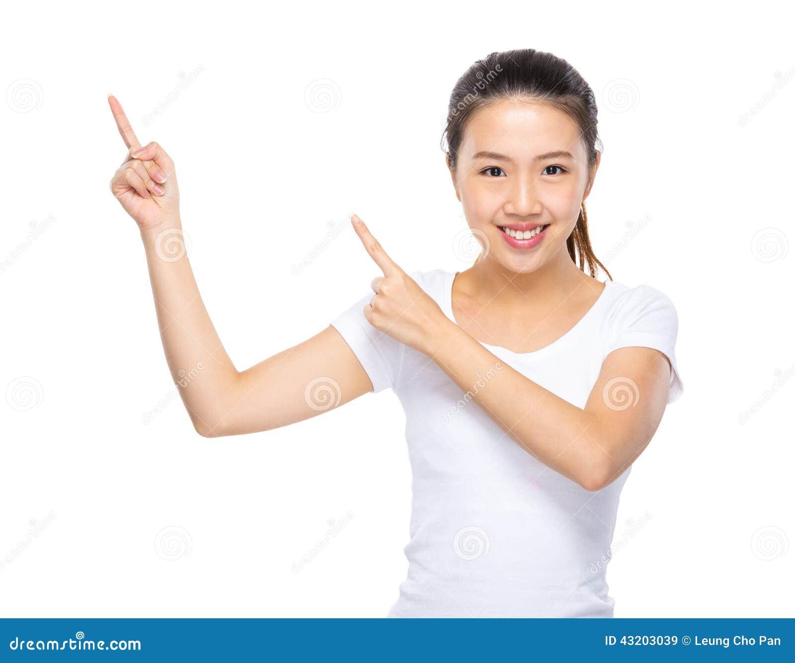 Download Ung Kvinna Med Punkt För Två Finger Upp Fotografering för Bildbyråer - Bild av appaloosas, kines: 43203039