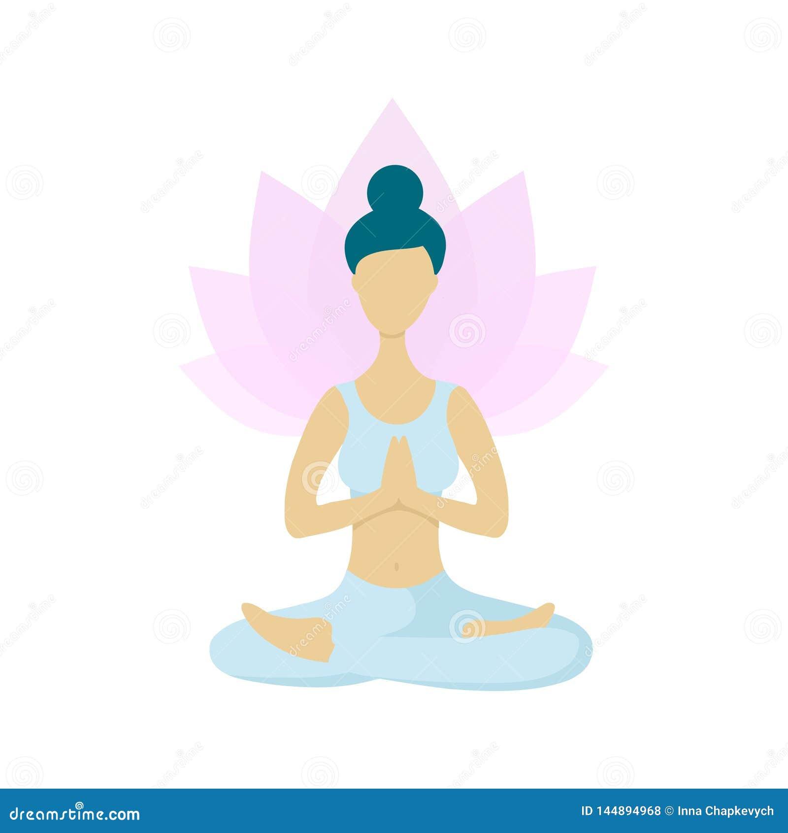 Ung kvinna som mediterar i lotusblommayogaposition