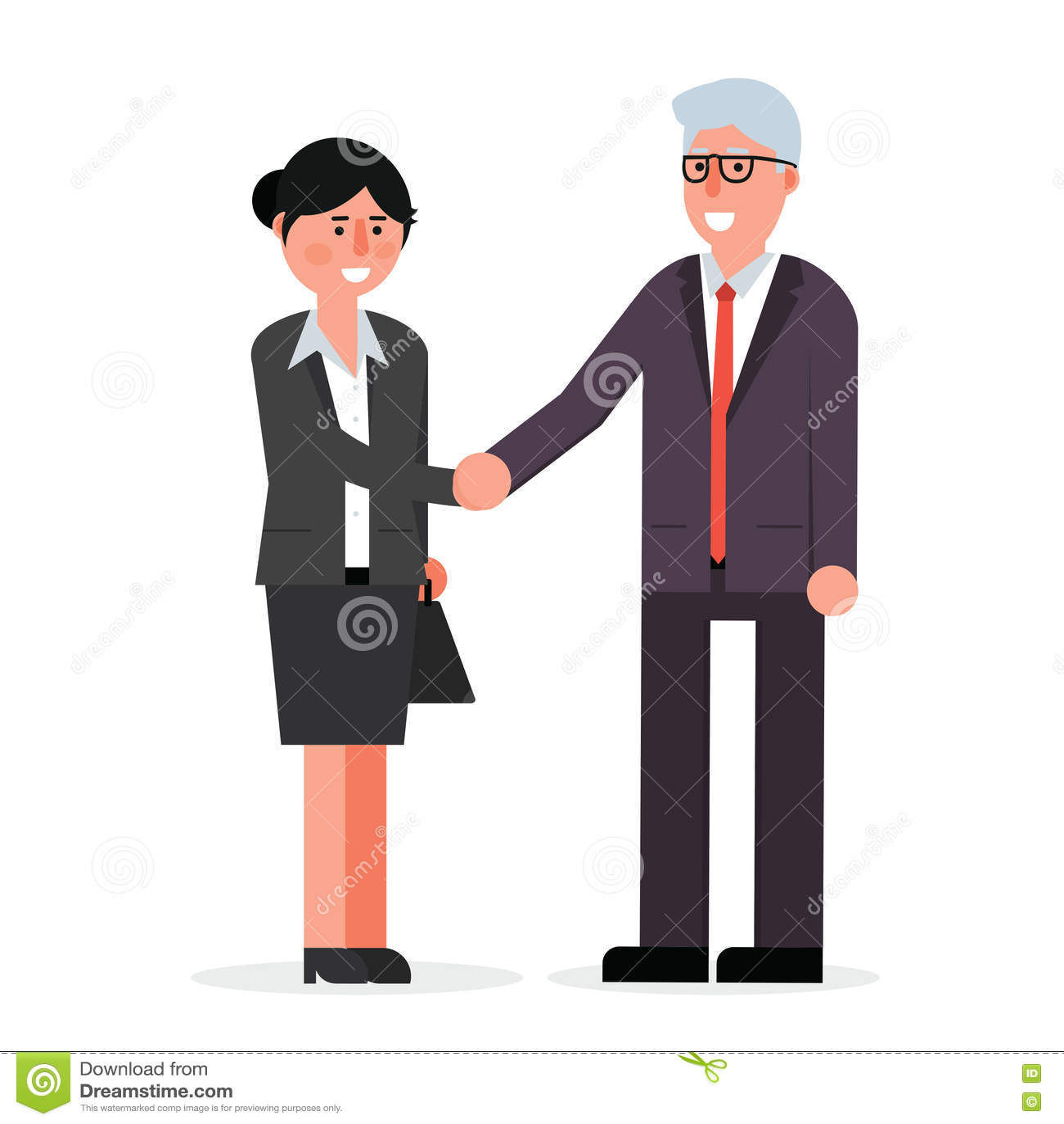 Ung kvinnlig anställd- och pensionäraffärsman som skakar händer och s