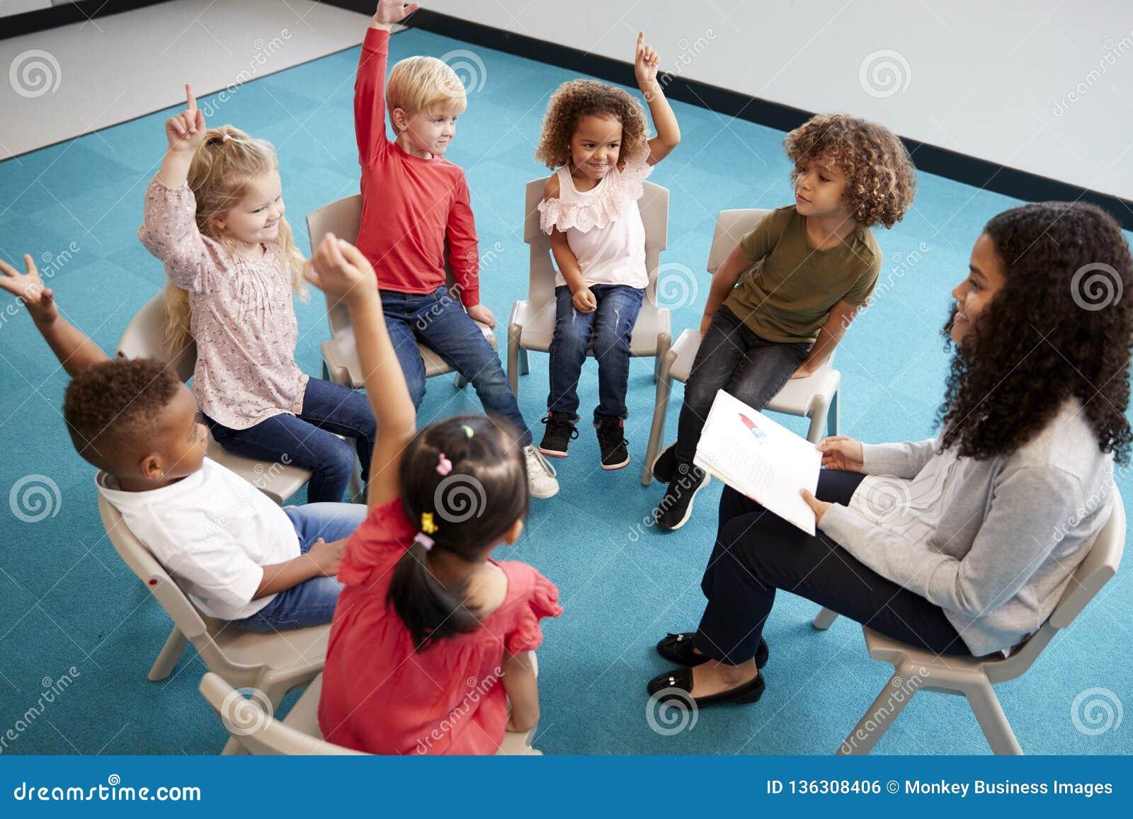Ung kvinnlig skolalärare som läser en bok till begynnande skolbarn som sitter på stolar i en cirkel i klassrumet som lyfter hände
