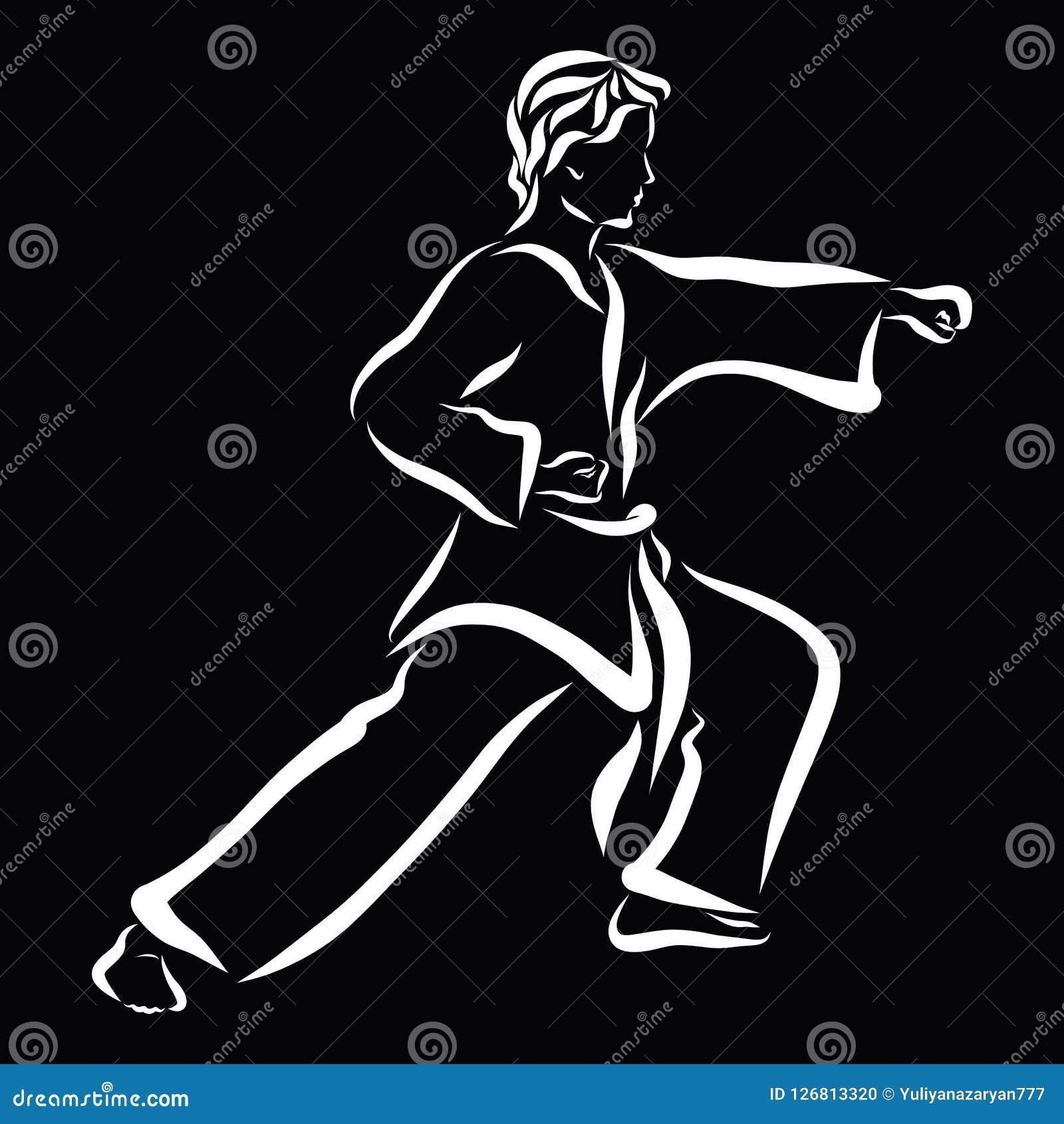 Ung man i en dräkt för kampsporter, kamp, svart bakgrund
