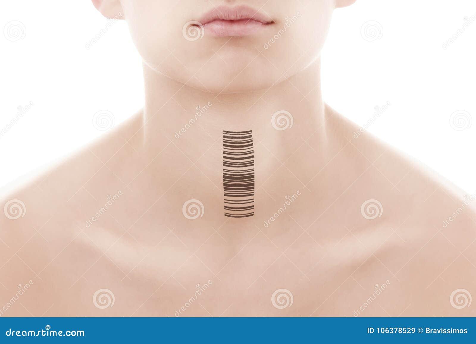 Ung man med en stångkod av genetiska forskningar Klon av DNA:t och den mänskliga genom konstgjord intelligens
