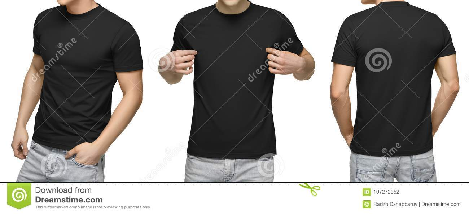 Ung manlig sikt för för för blankosvartT-tröja, framdel och baksida, vit bakgrund Planlägg den mantshirtmallen och modellen för t