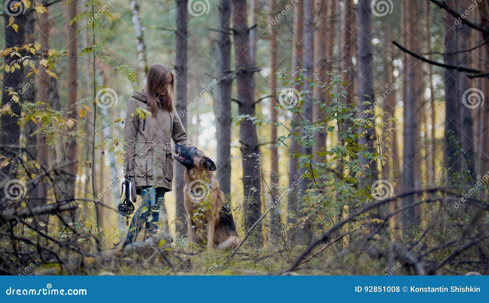 Ung nätt kvinnlig modell som spelar med hennes husdjur - tysk herde - som går på en höstskog - flickan kastar hunden a