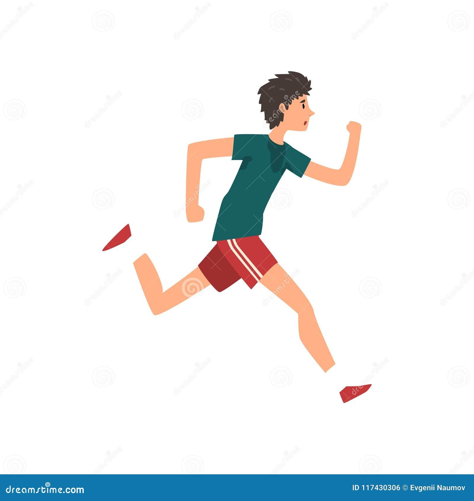Ung sportive manspring, aktiv sund illustration för vektor för livsstilbegreppstecknad film på en vit bakgrund