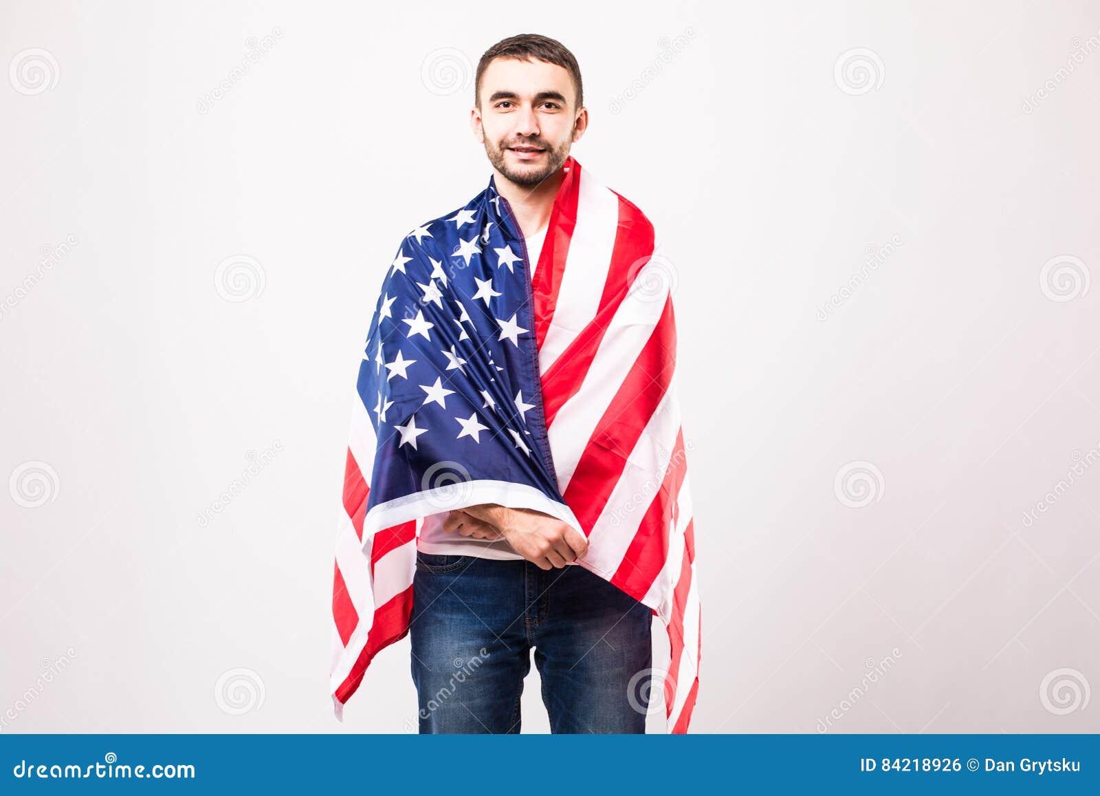 Ung stilig man med amerikanska flaggan