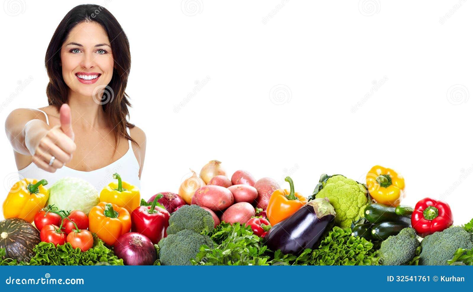 Ung sund kvinna med frukter.