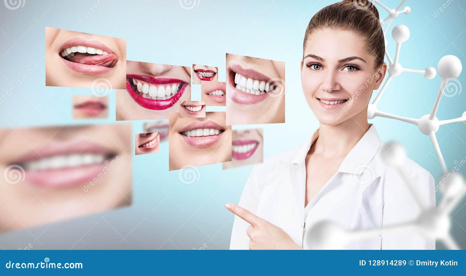 Ung tandläkaredoktor nära collage av sunda härliga leenden