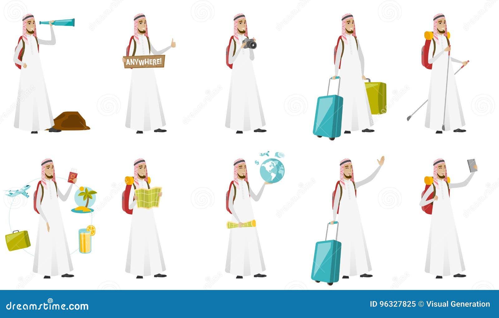 Ung uppsättning för illustrationer för vektor för muslimhandelsresandeman