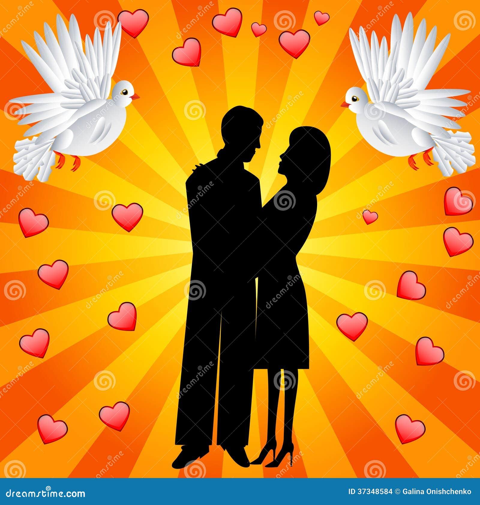 Unga älska par och vitt smeka två