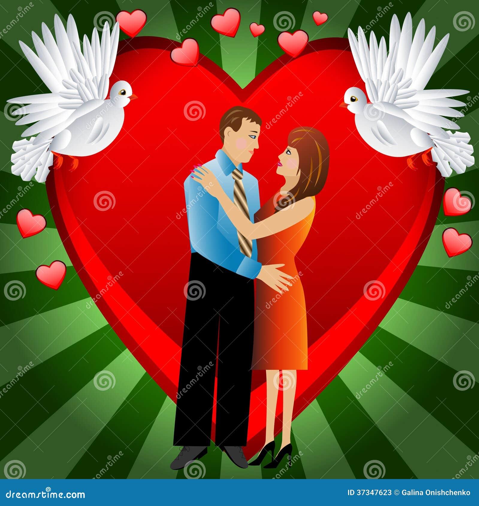 Unga älska par på en bakgrund en hjärta