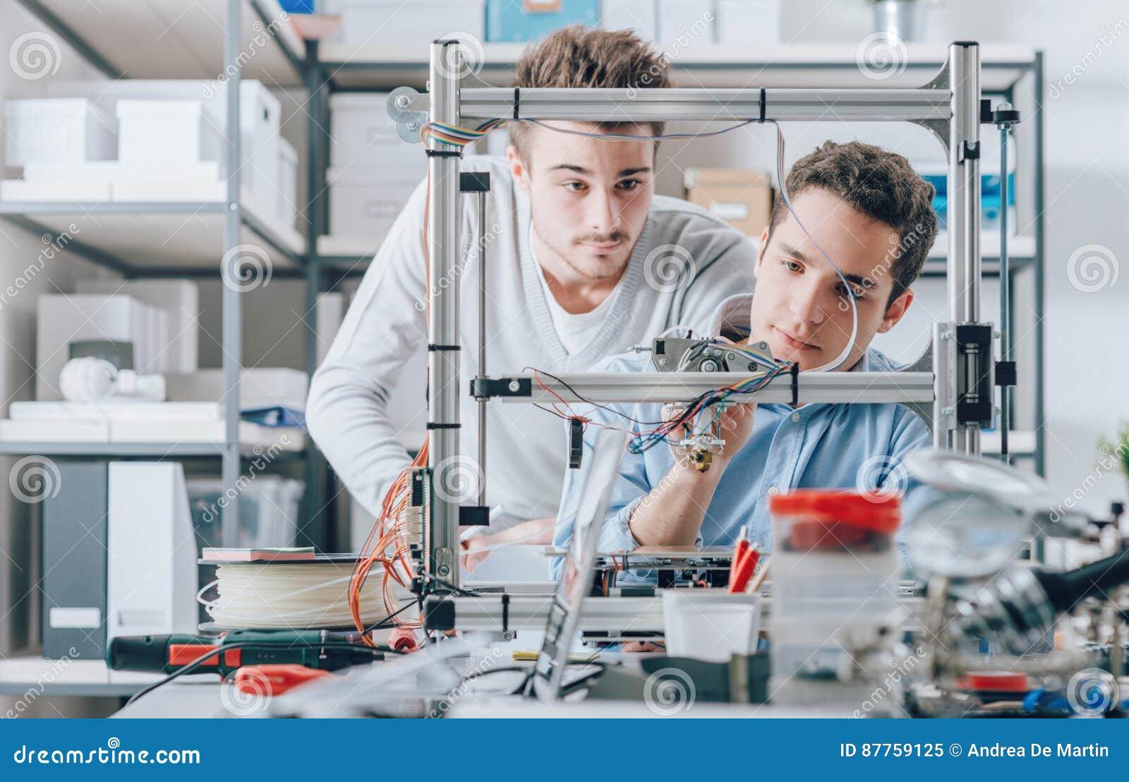 Unga forskare och skrivare 3D
