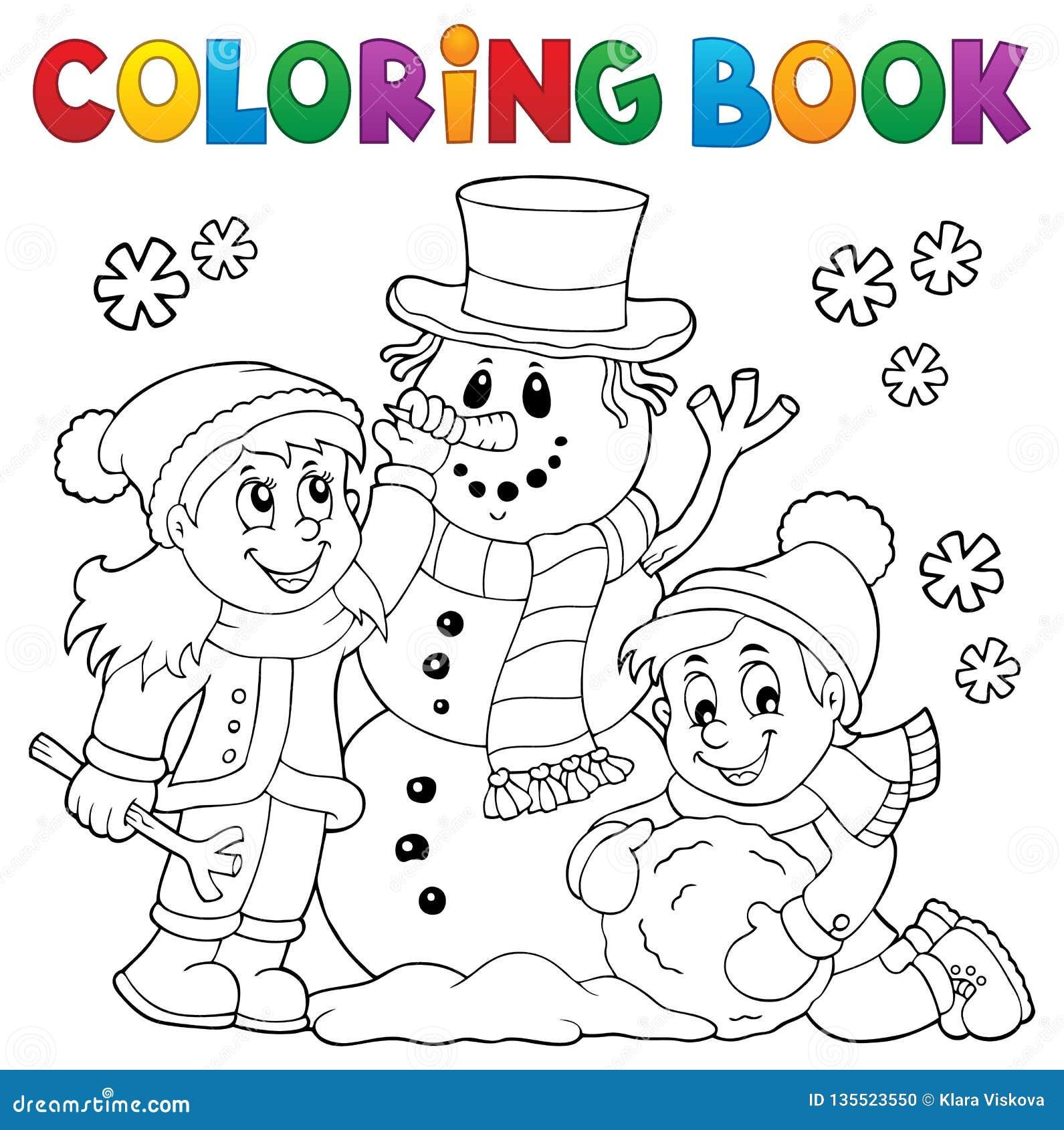 Ungar för färgläggningbok som bygger snögubbe 1