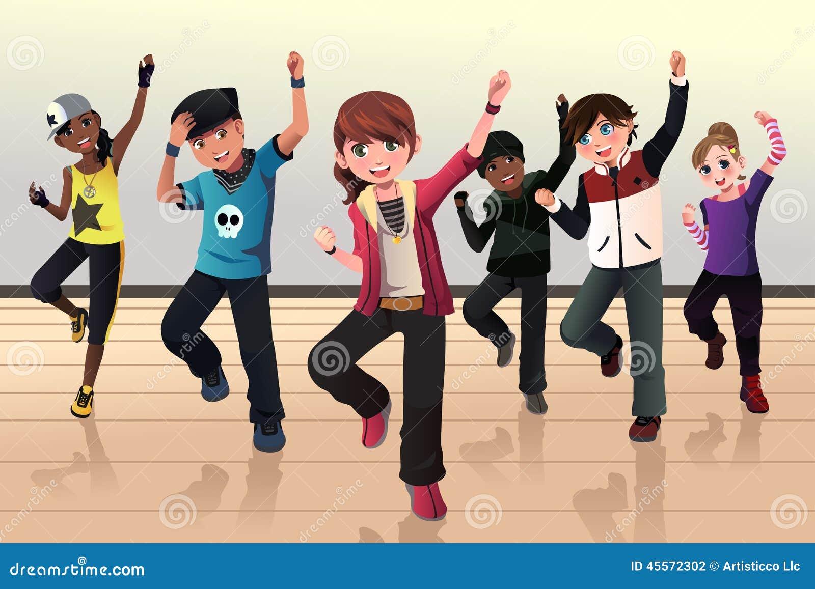 Ungar i grupp för höftflygturdans