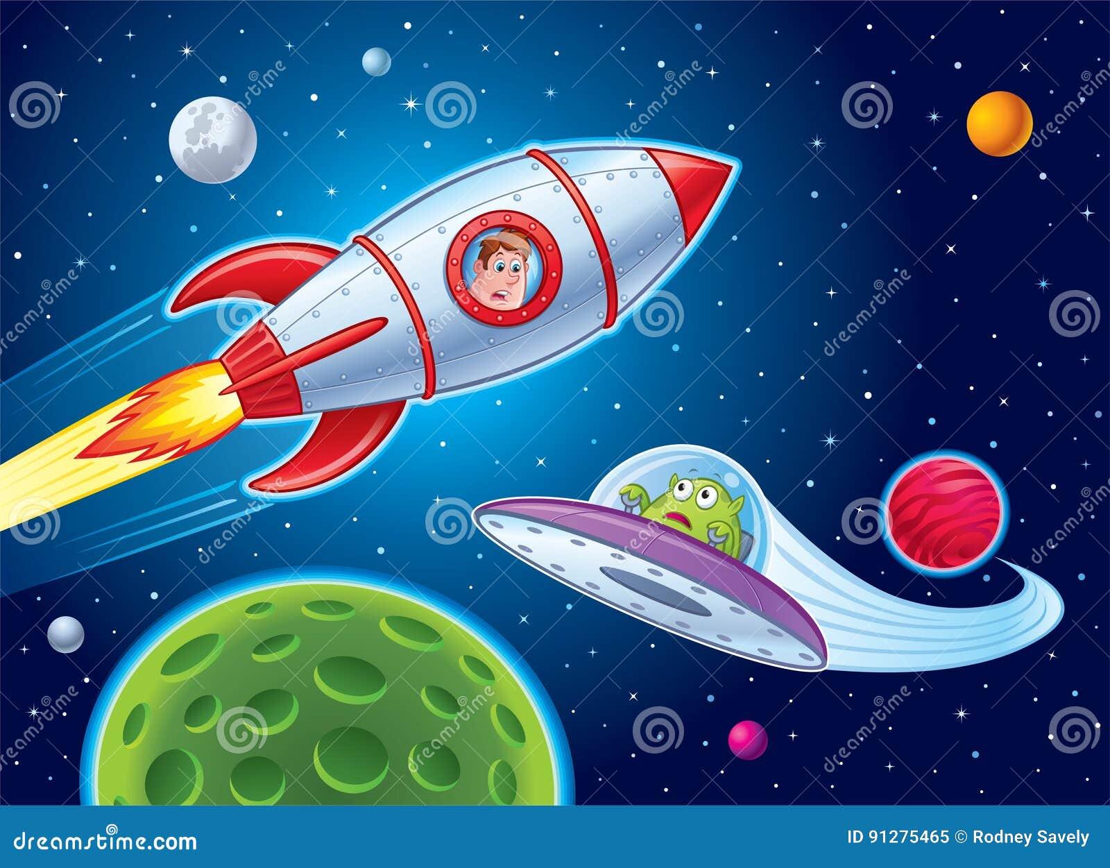 Ungar i Rocket Ship Sees Alien