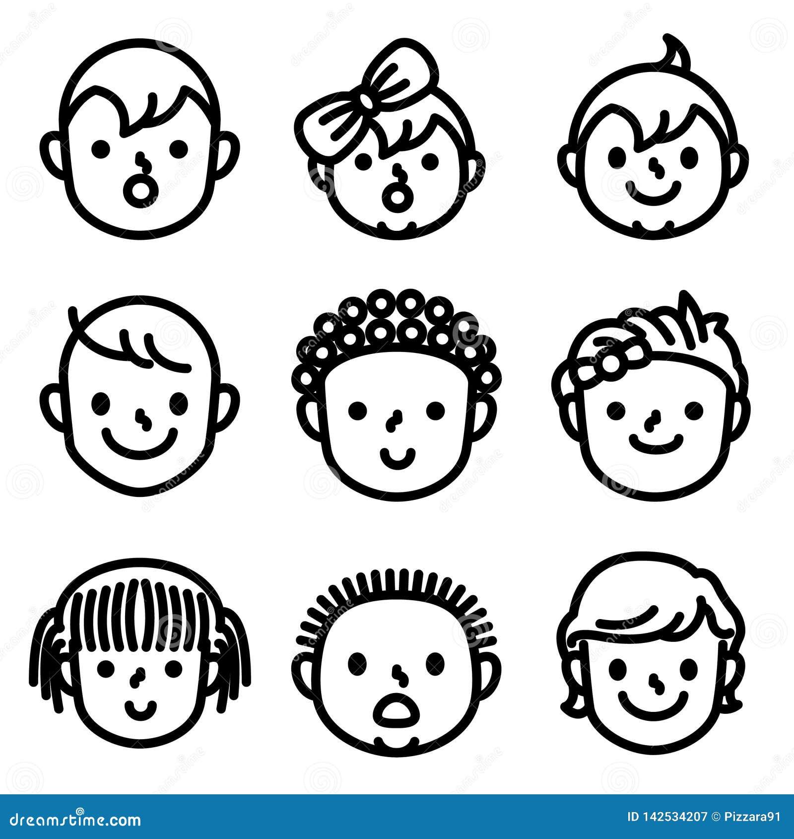 Ungar och childs vänder mot avatarsymboler