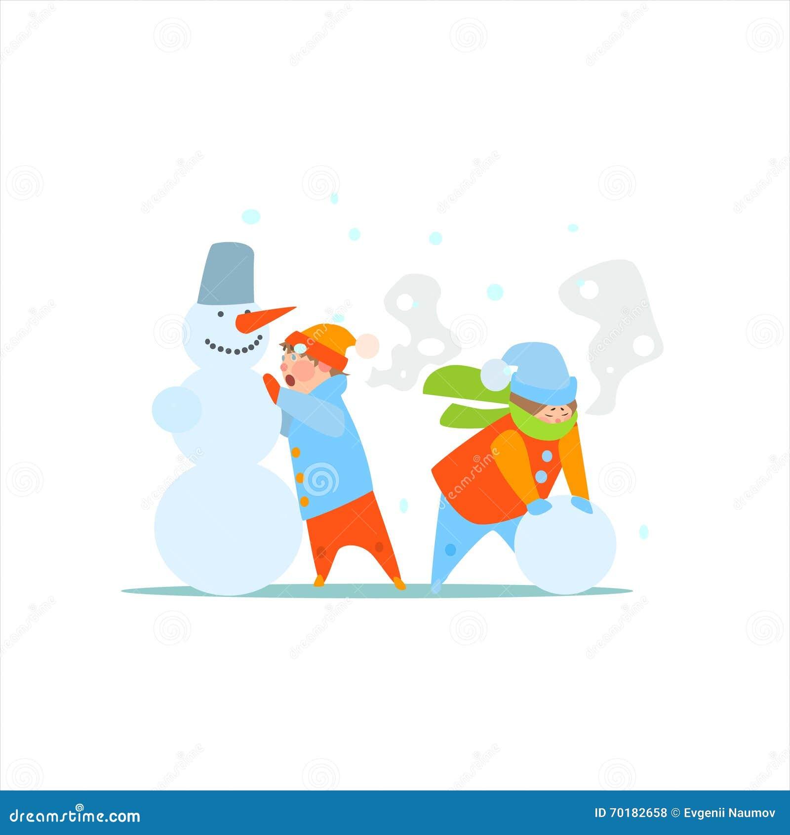 Ungar som gör en snögubbe