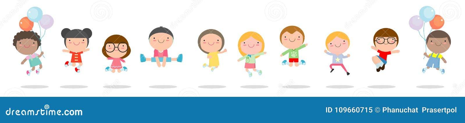 Ungar som hoppar med glädje, childern lycklig banhoppning, lyckligt tecknad filmbarn som spelar på vit bakgrund, vektorillustrati