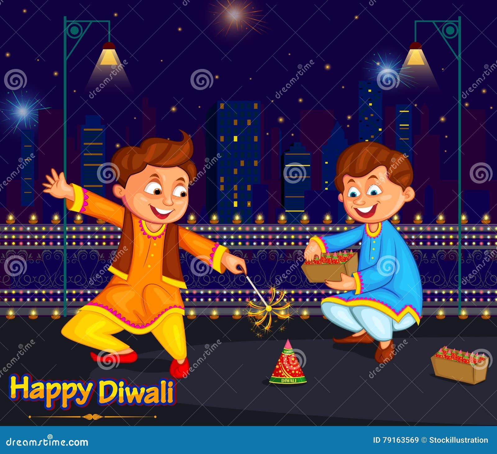 Ungar som tycker om firecrackeren som firar den Diwali festivalen av Indien