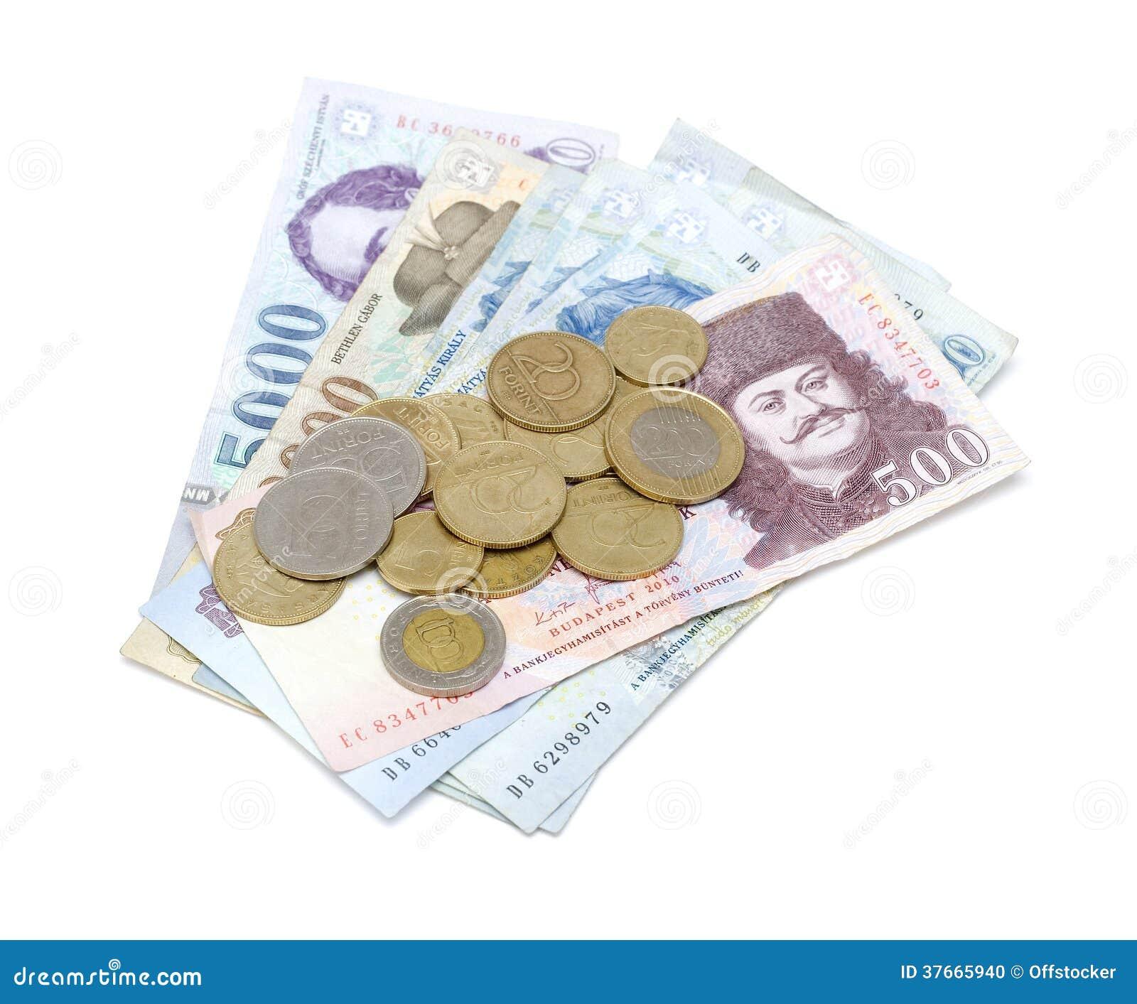 Ungarische Forint-Banknoten und Münzen