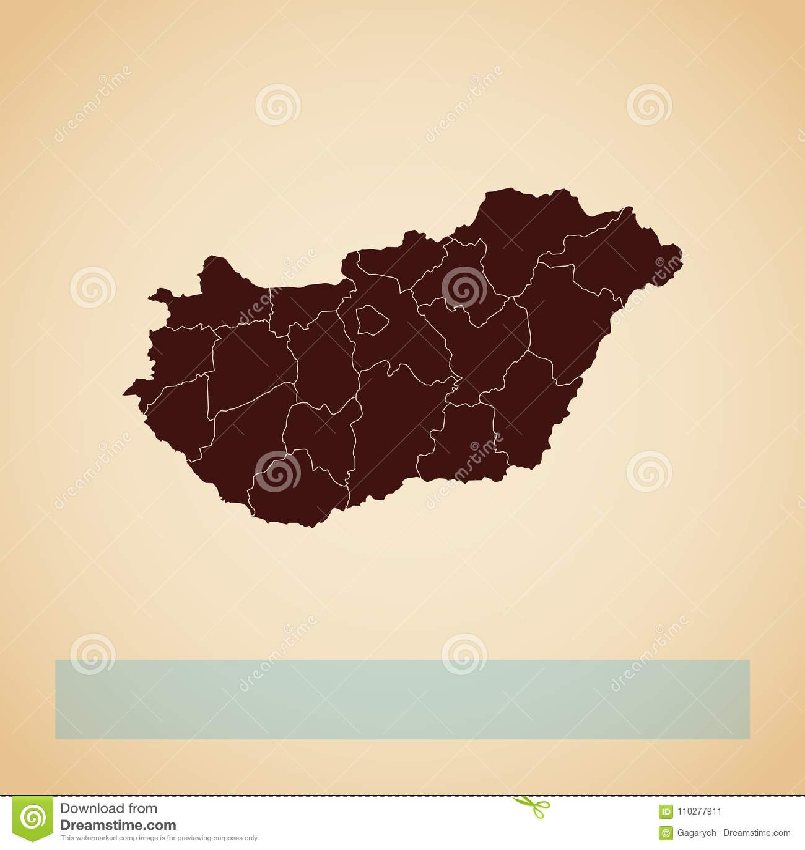 Ungarn-Regionskarte: brauner Entwurf des Retrostils an
