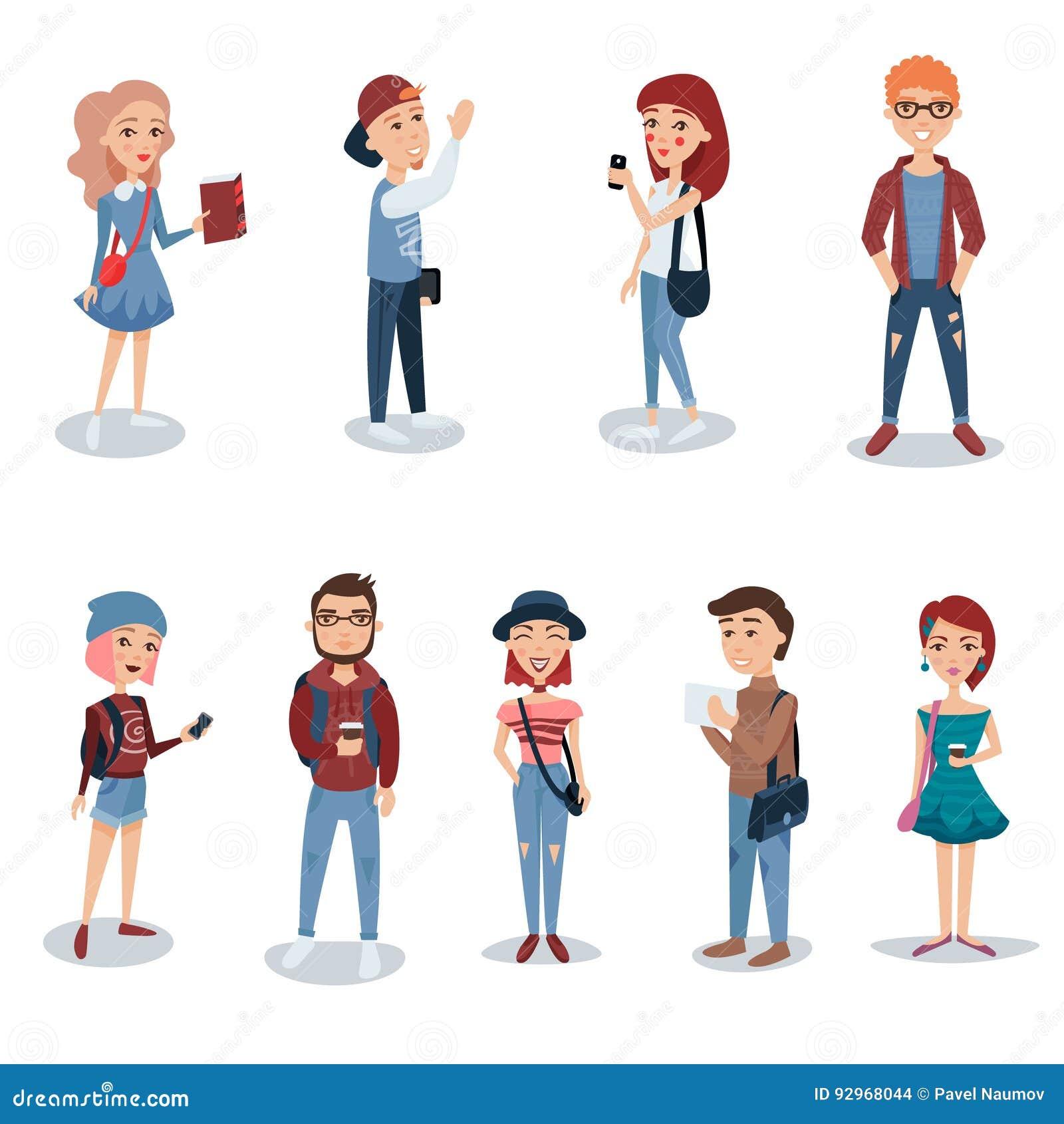 Ungdomari tillfällig kläder som står fastställd Studenter med illustrationer för bok-, telefon- och ryggsäckteckenvektor