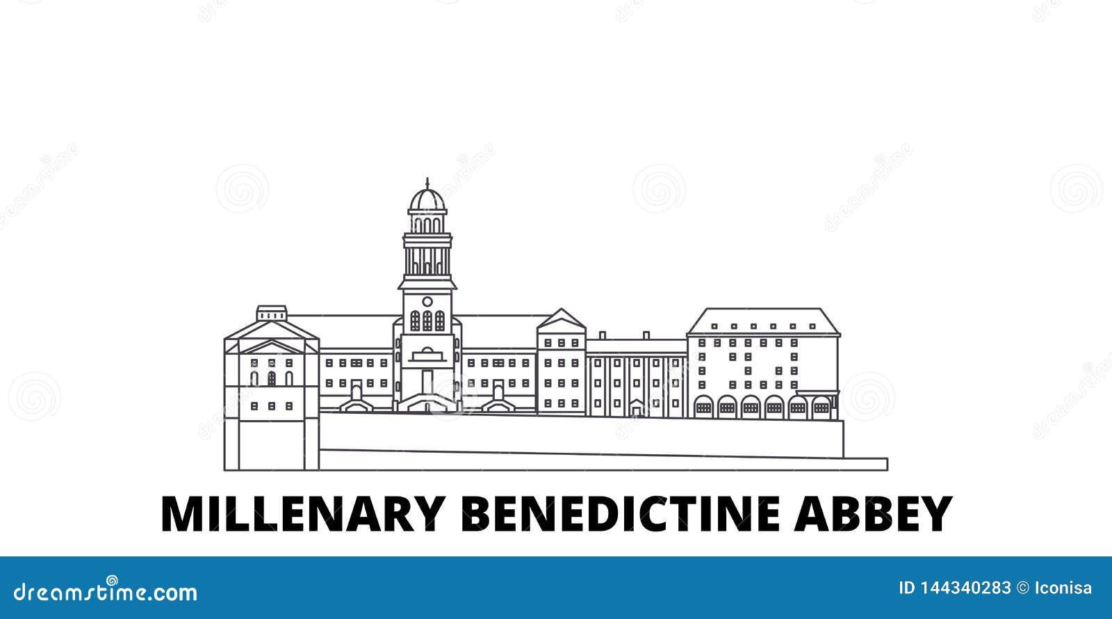 Ungern Millenary Benedictine abbotsklosterlinje lopphorisontuppsättning Ungern Millenary Benedictine vektor för abbotsklosteröver