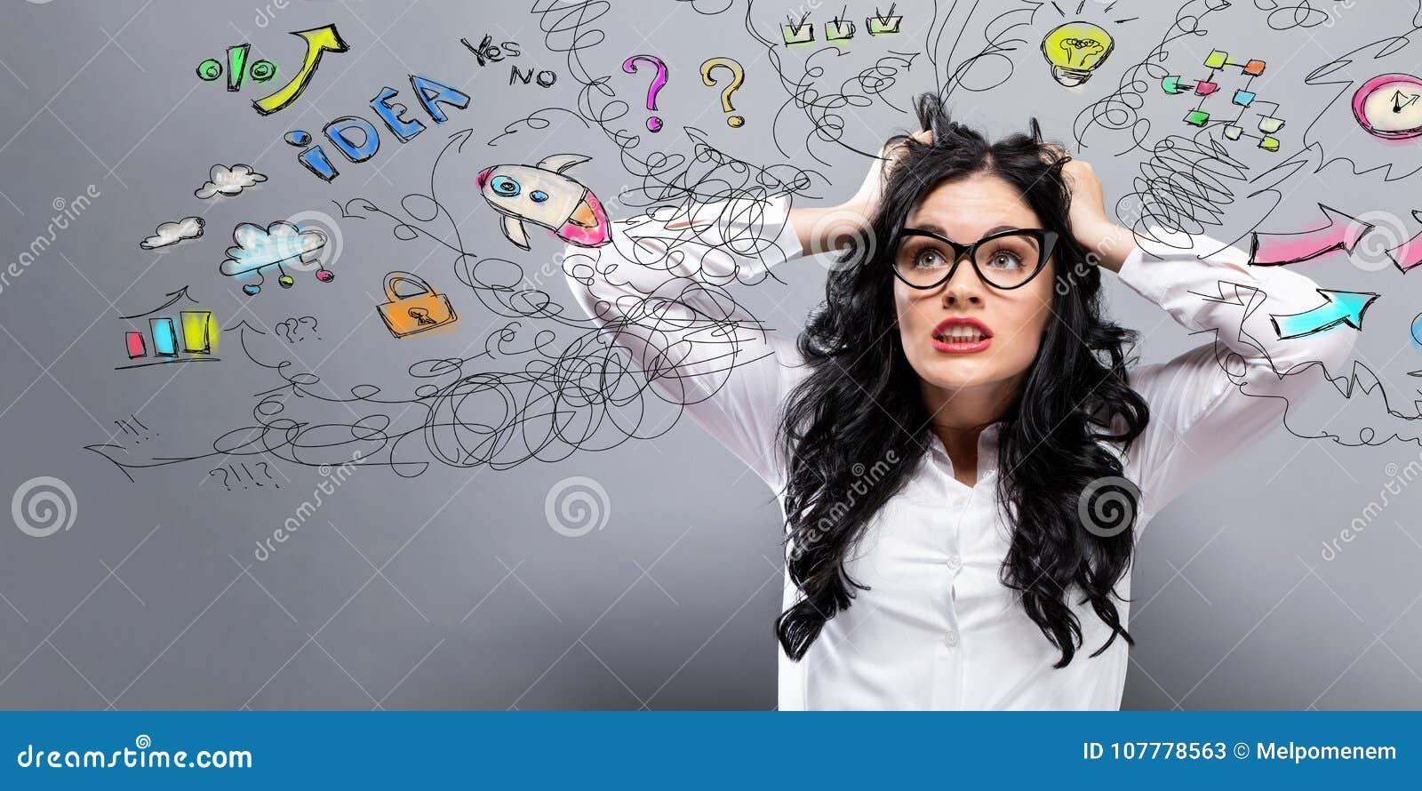 Unglückliche Frau mit vielen Gedanken